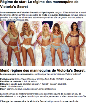 Menu régime des mannequins de Victoria's Secret : big joke !