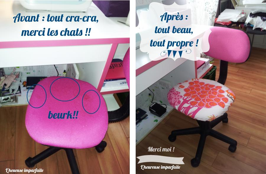 une nouvelle housse pour chaise de bureau diy l 39 heureuse imparfaite. Black Bedroom Furniture Sets. Home Design Ideas