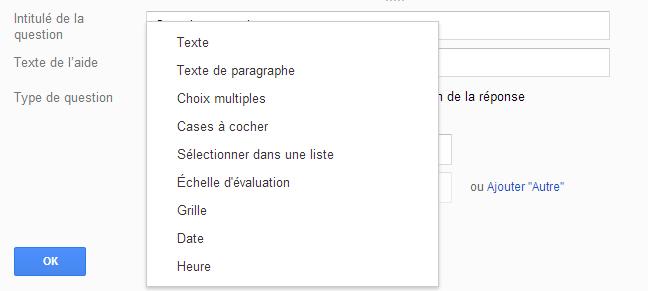 google doc creer type de questions