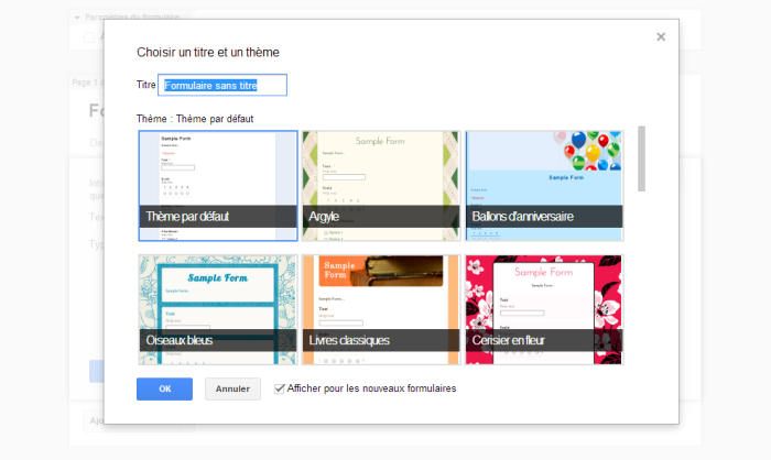 google doc page acc creer formulaire choisir theme