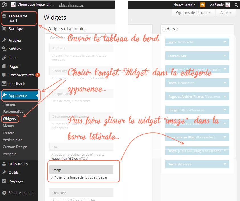 menu image perso dashbord