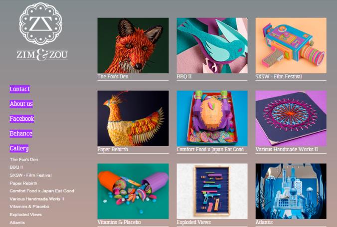 page d'accueil du site Zim&Zou